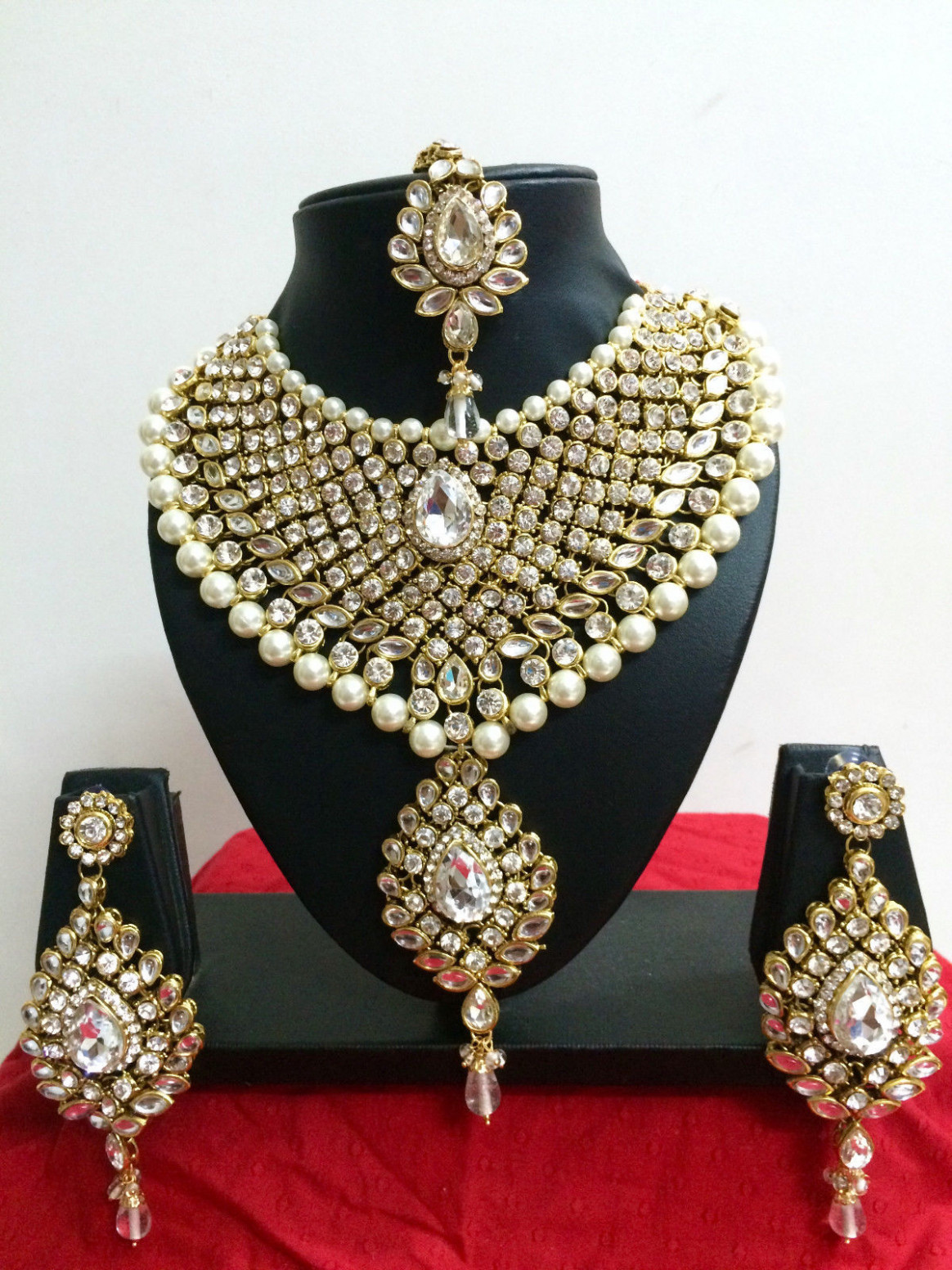Indian Bollywood Diamante Kundan Pearl Gold Tone Bridal ...