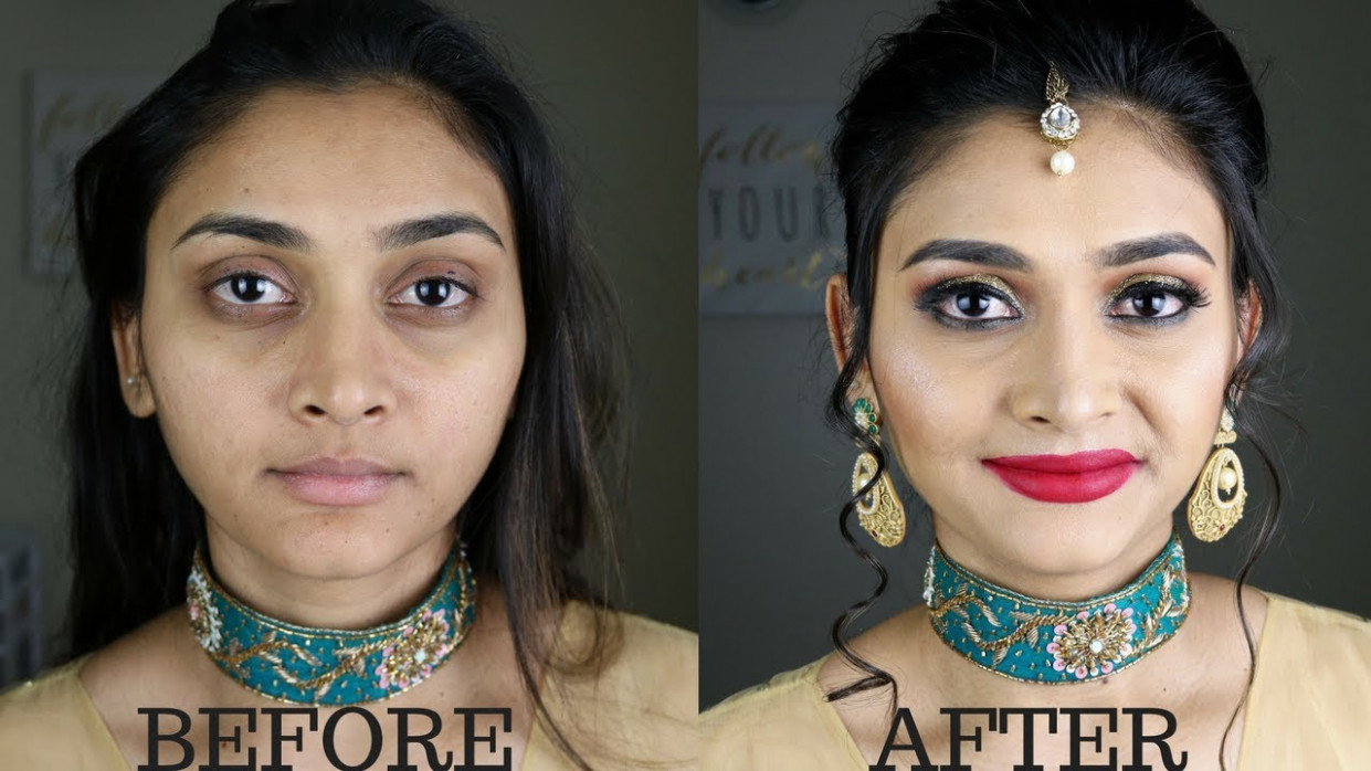 Indian/Bollywood/South Asian Bridal Makeup | Gold glitter ...