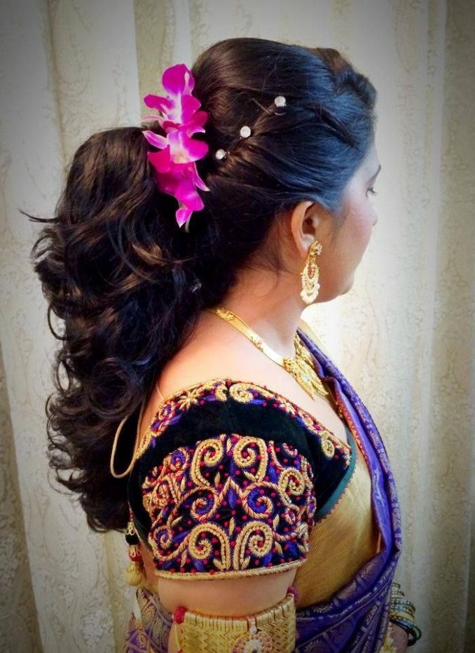 Indian bride's bridal reception hairstyle by Swank Studio ...