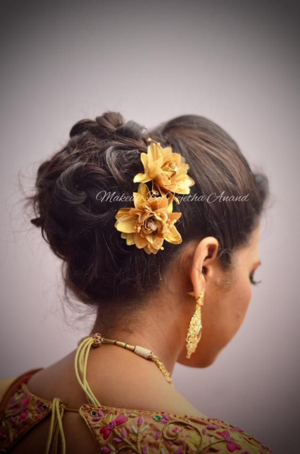 Indian bride's reception hairstyle by Swank Studio. Bridal ...