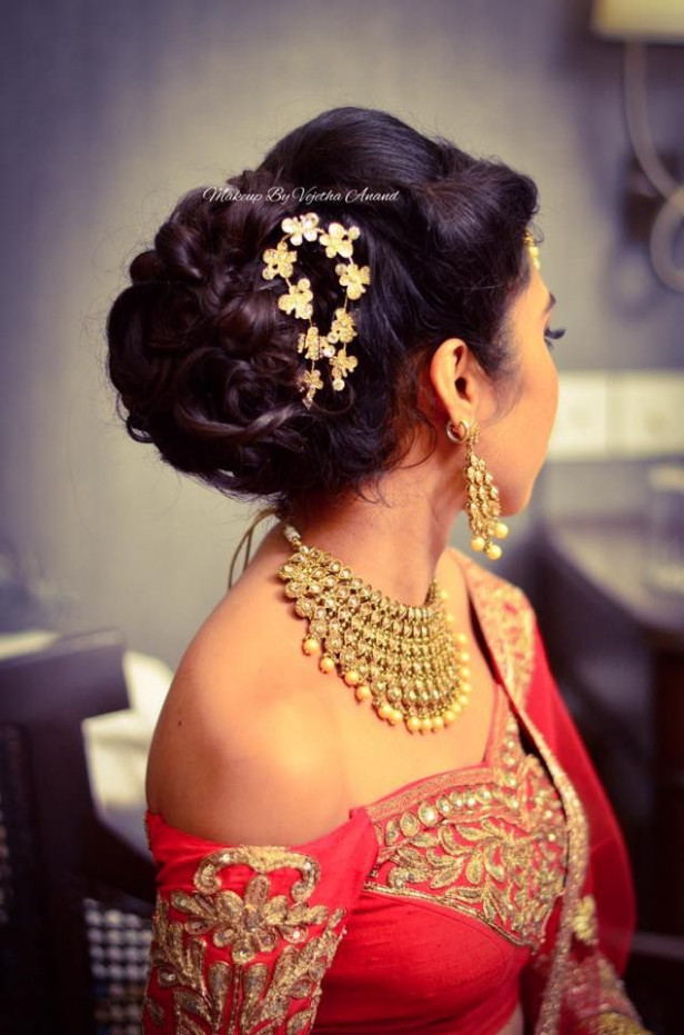 Indian bride's reception hairstyle by Vejetha for Swank ...