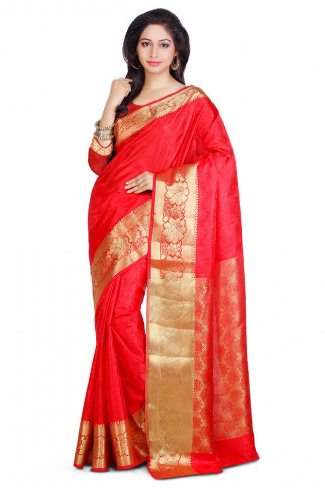 Indian Kanchipuram Sari Kanjivaram Saree Silk Traditional ...