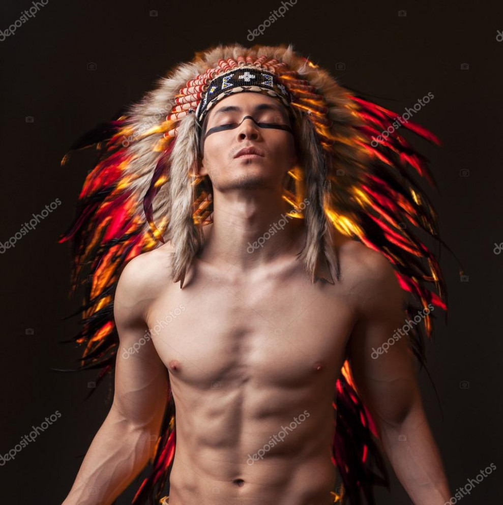 Indian strong man with traditional native american make up ...