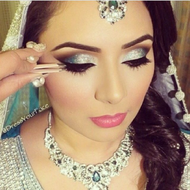 Indian wedding makeup. Love the glittery eyes | makeup ...