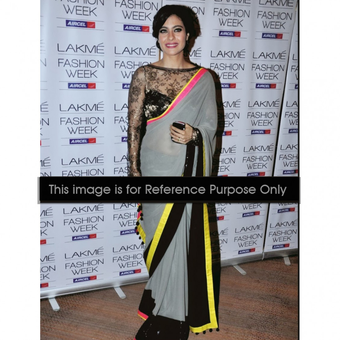 Kajol Grey Neon Bollywood Saree - Buy Bollywood Sarees ...