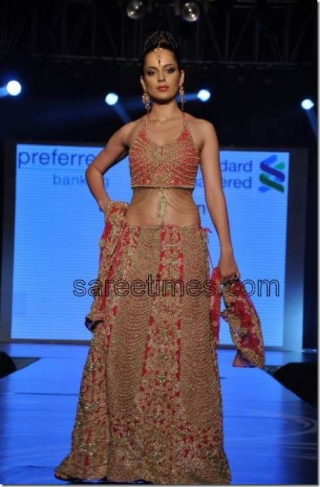 Kangana Ranaut in Bridal Wear at Azeem Khan Show | sareetimes