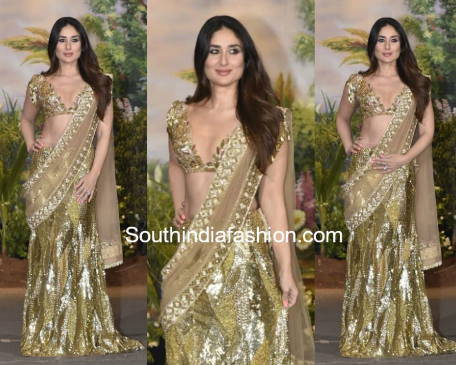 Kareena Kapoor in Manish Malhotra saree at Sonam Kapoor's ...