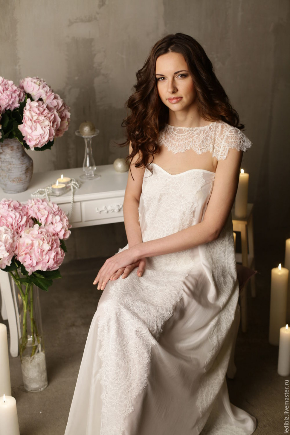 Long Silk Bridal Nightgown With Lace F2, Bridal Lingerie ...