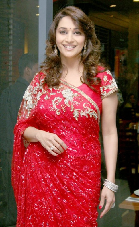 Madhuri Dixit in Red Saree – Bollywood Actress Madhuri ...