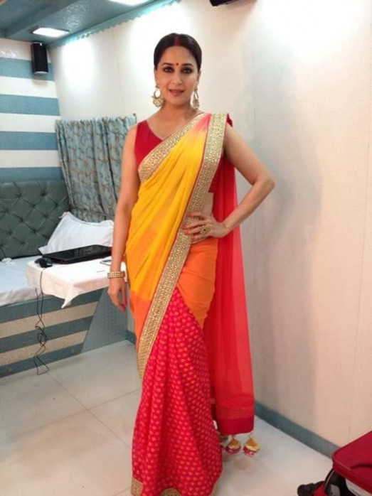 Madhuri Dixit in Yellow red saree – Panache Haute Couture ...