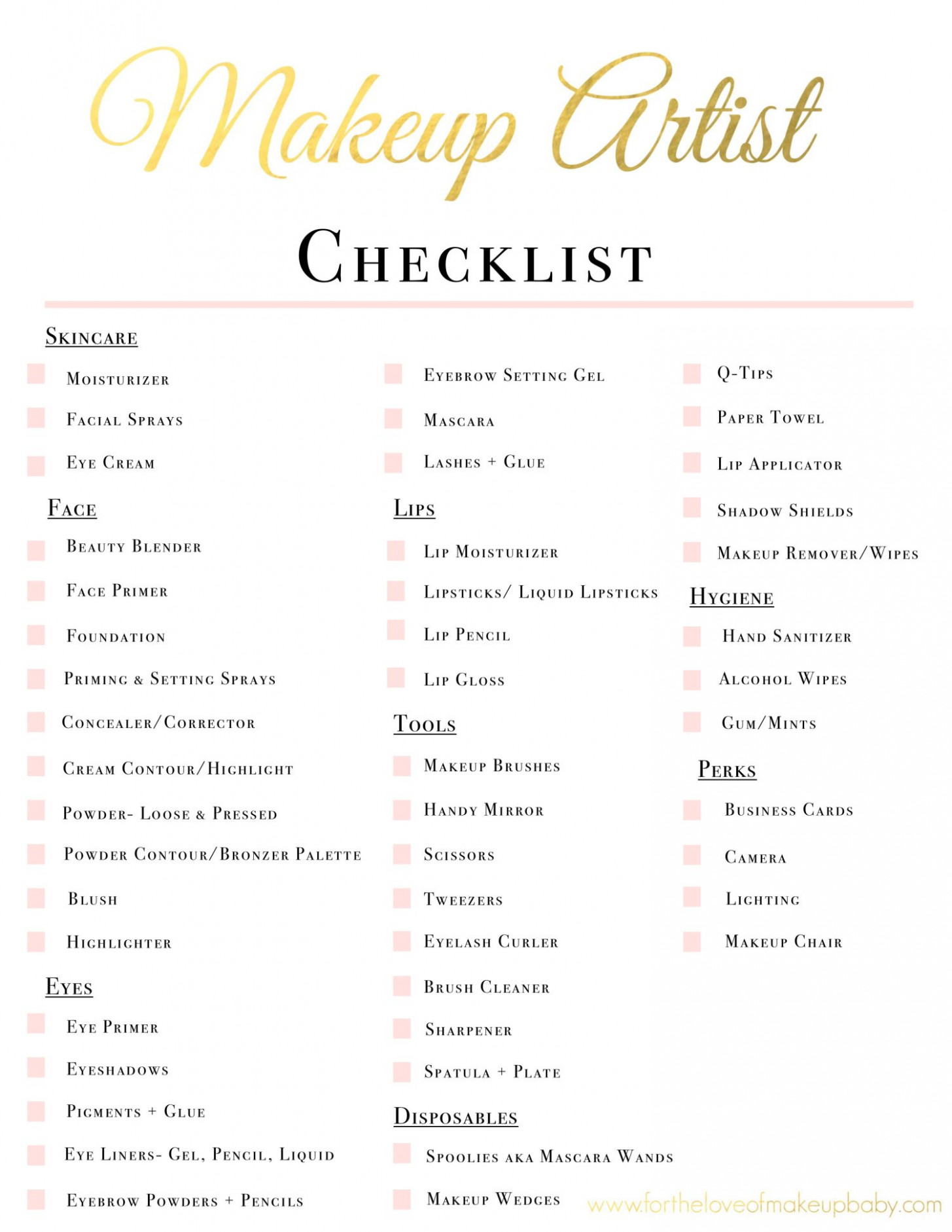 Makeup Artist Kit Checklist | www.fortheloveofmakeupbaby ...