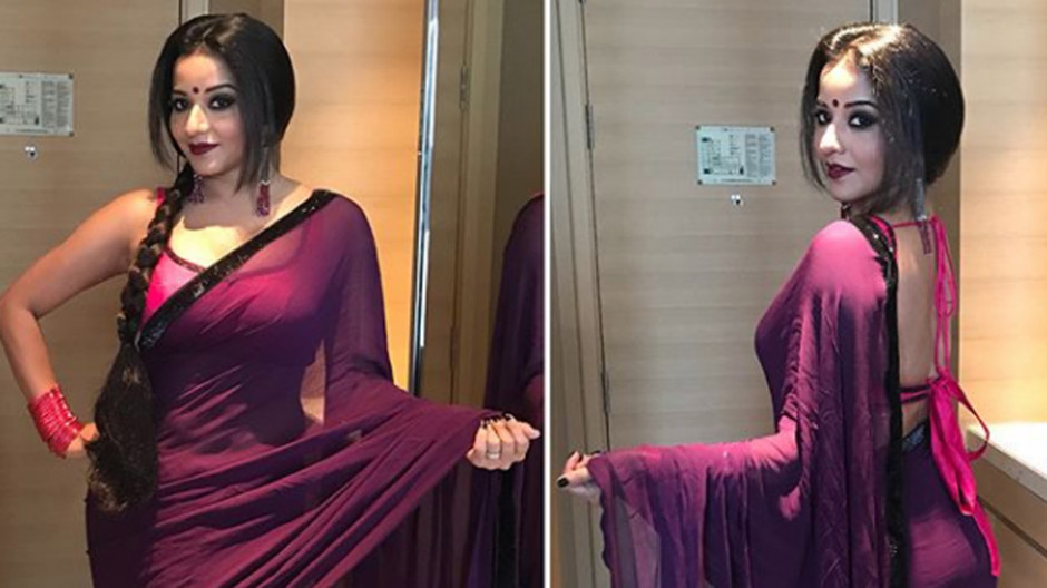 Monalisa slays with her sensual pics in purple saree ..
