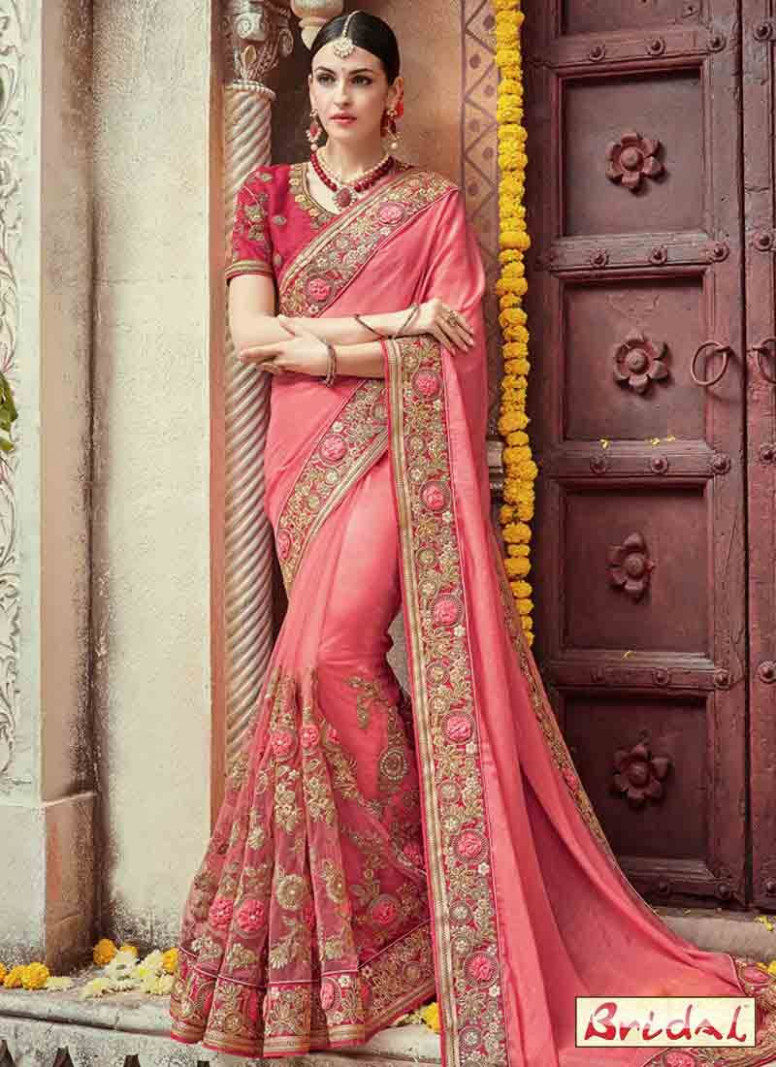 new pink Indian bridal wedding and party wear saree ...