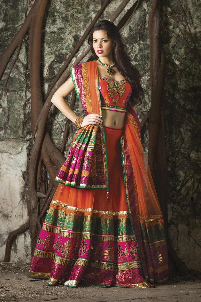 orange indian wedding dress | Fashion by Soma Sengupta