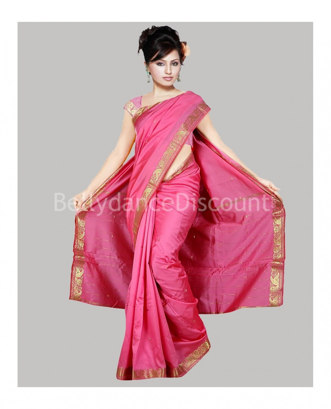 Pink Bollywood dance Saree - BellydanceDiscount.com