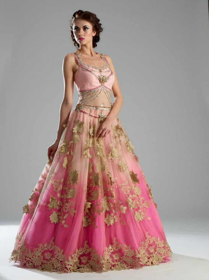 Pink Desi ballgown, indian bridal Pink Dress #2dayslook # ...