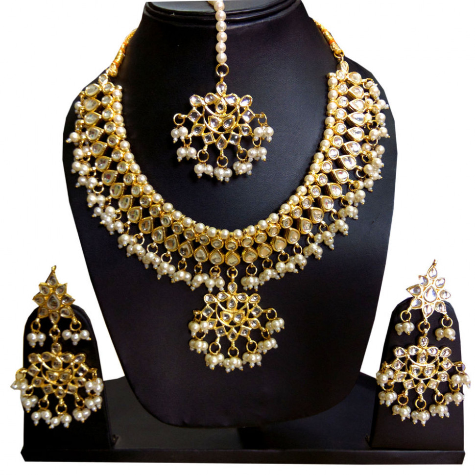 Polki kundan gold Indian bridal Necklace earrings Set ...