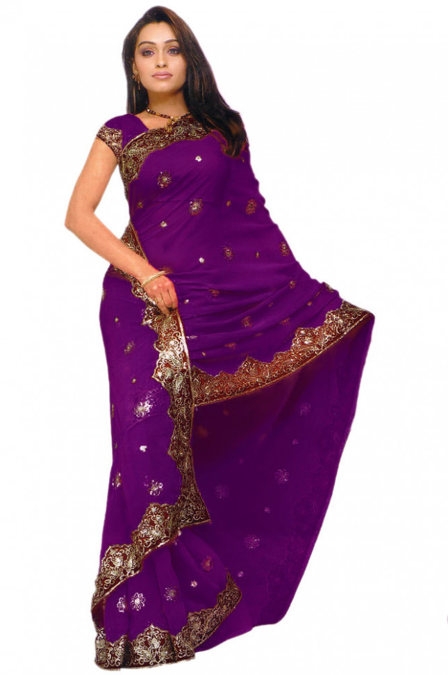 Purple Bollywood Sequin Saree Sari Belly dance Drape ...