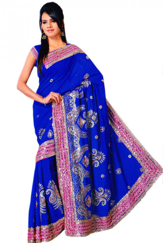 Royal Blue Bollywood Sequin Saree Sari Bellydance Drape ...