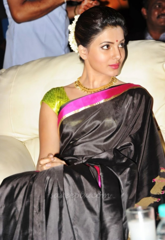 Samantha in black saree at Tollywood cinema channel opening