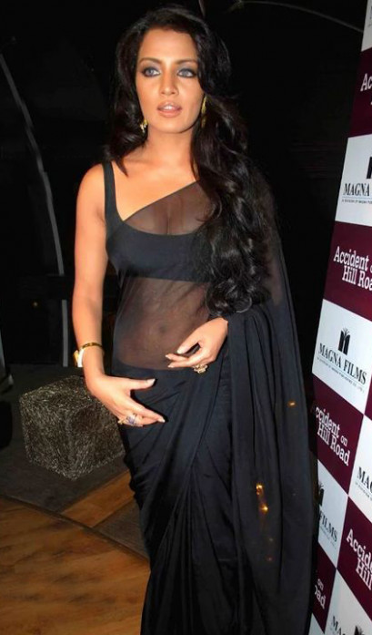 Saree Market: Bollywood Actress Celina Jaitly Black Netted ...