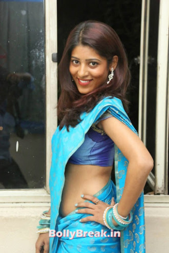 Slim Tollywood Heroine Gayatri Pics in Blue Saree - 10 Pics