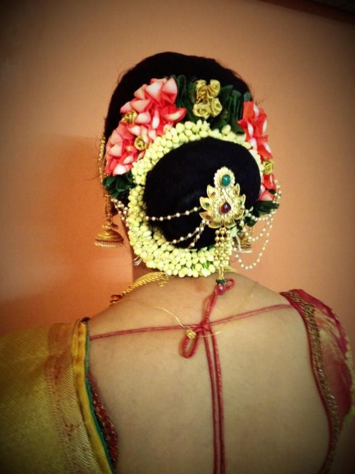 South Indian bride | bridal hairstyle hair bun ...