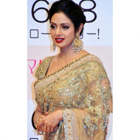 Sridevi Golden Saree By Bollywood Replica available at ...