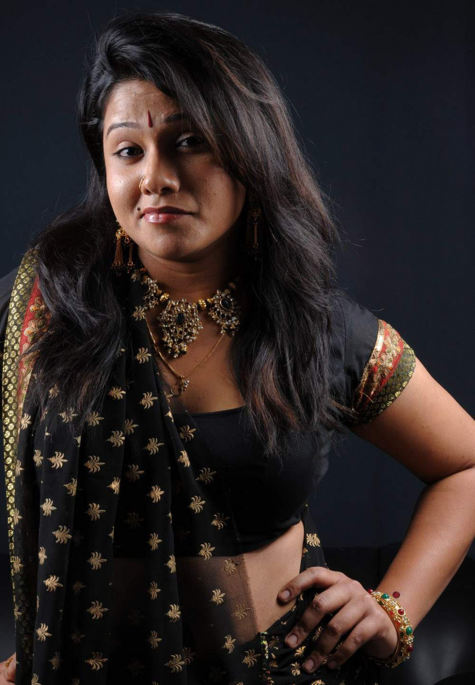 Tollywood Actress Jyothi Hot in Black Saree blouse Photos ...