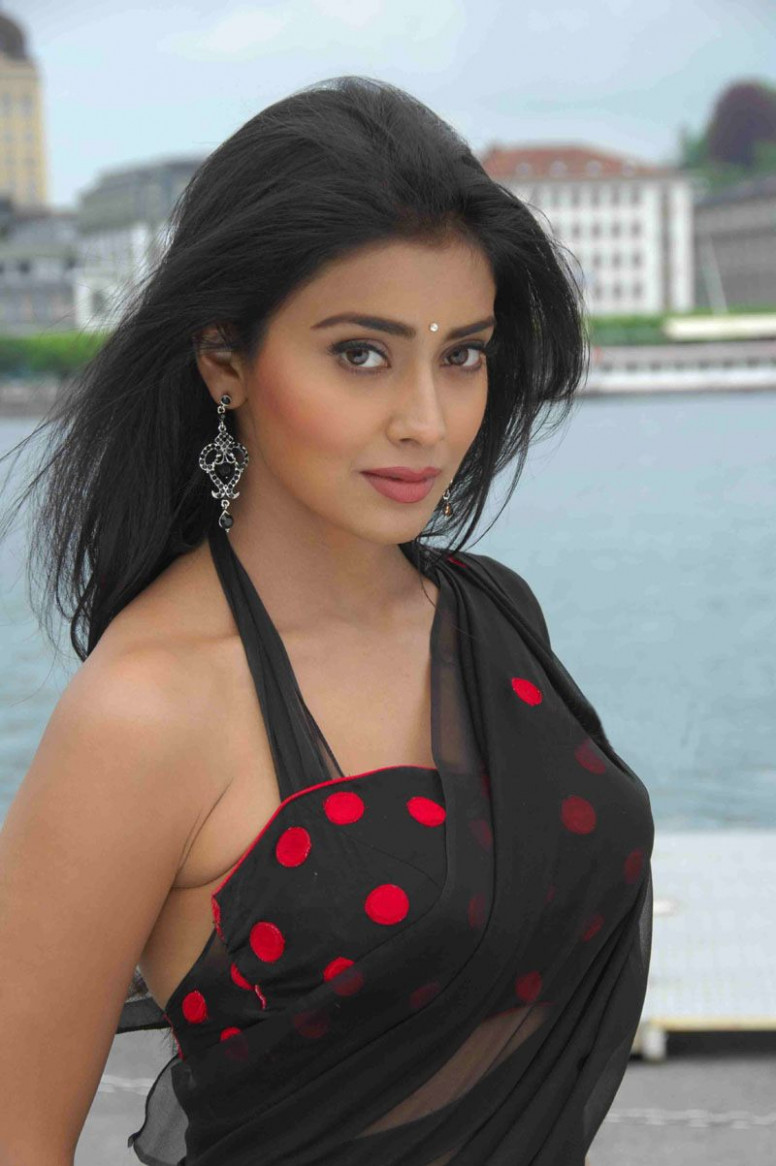 Tollywood Actress Shriya Sharan Hot in Black Saree Saree ...