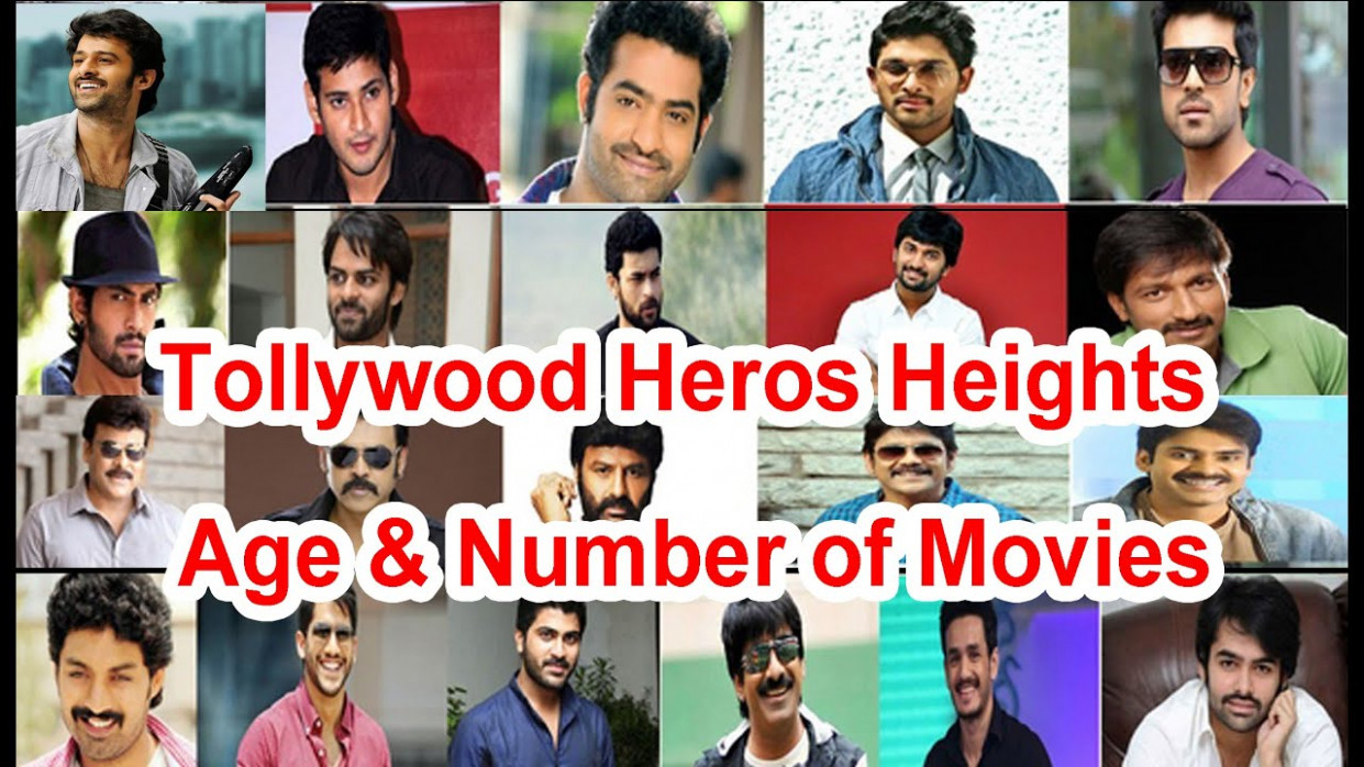 Tollywood heroes height, age & number of movies - YouTube