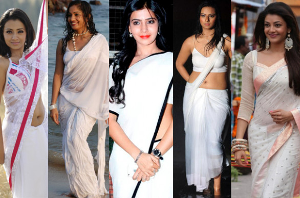 Tollywood Heroines in White Saree Photos