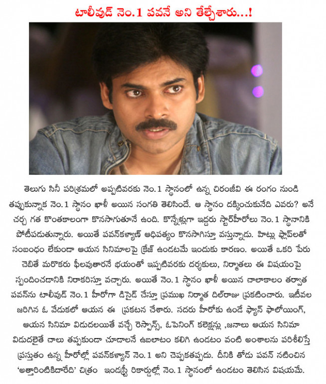 tollywood,number 1 hero,pawan kalyan,dil raju producer ...