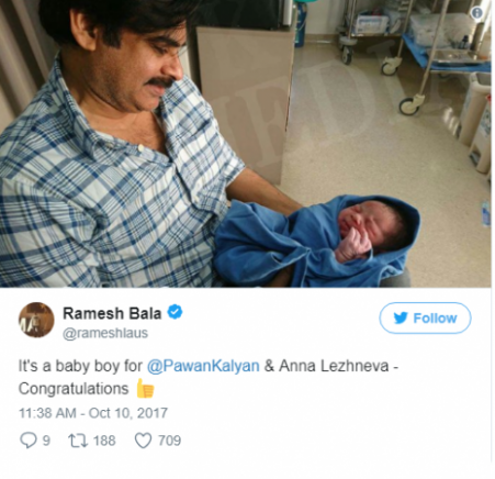 Tollywood Superstar Pawan Kalyan has blessed with baby boy ...