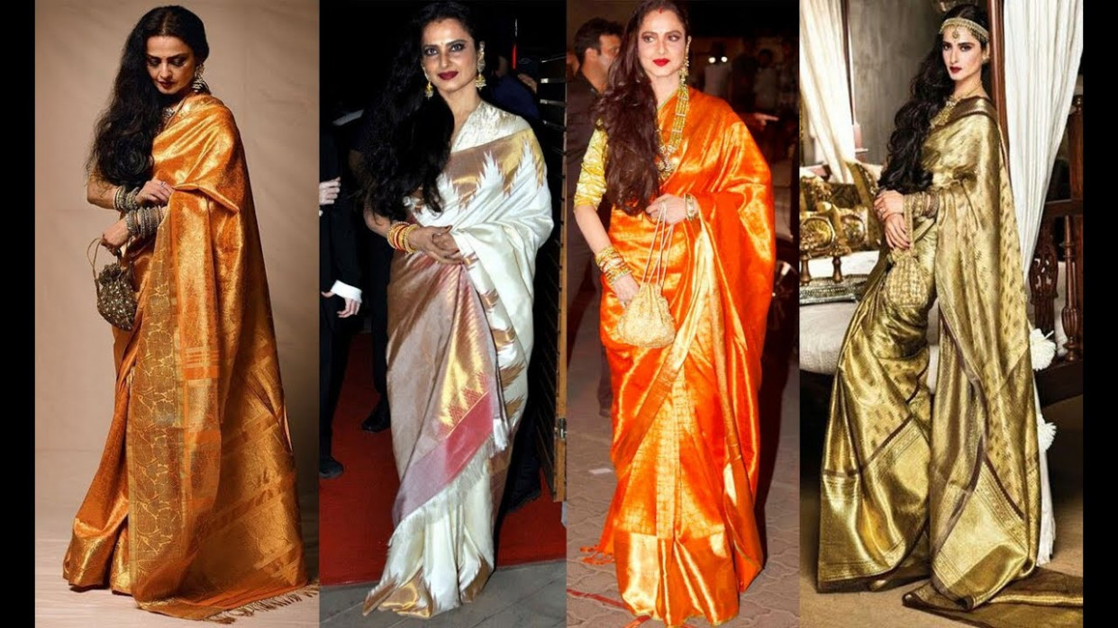 Top 20 Bollywood Actress Rekha Kanjeevaram Saree Designs ...