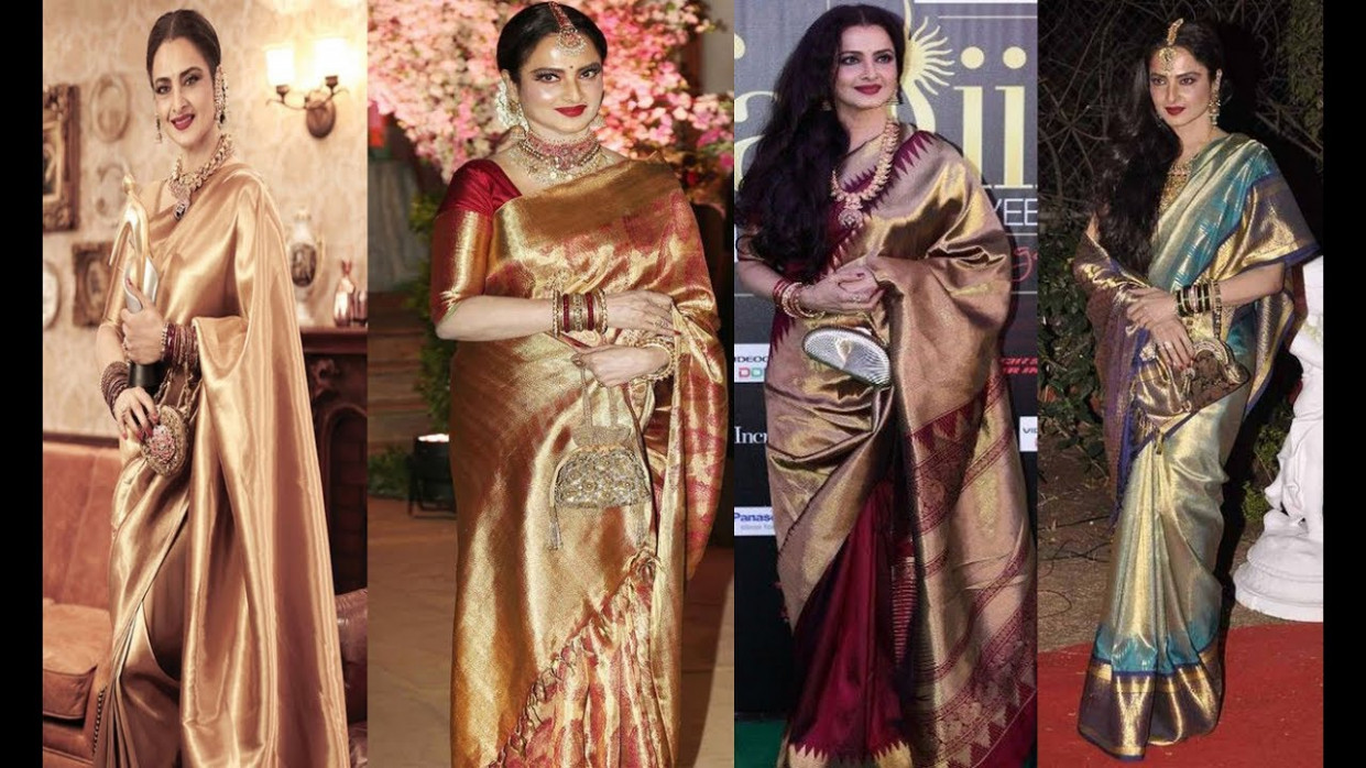 Top 25 Bollywood Actress Rekha Kanjeevaram Saree Designs ...