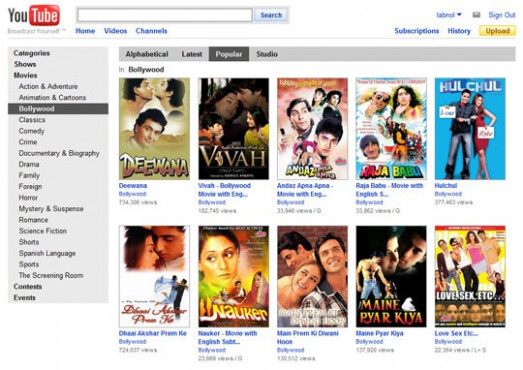 Watch Bollywood Movies Free Online Legally Now on YouTube