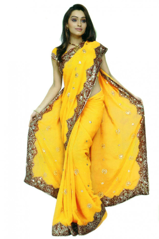 Yellow Bollywood Sequin Saree Sari Belly dance Fabric ...