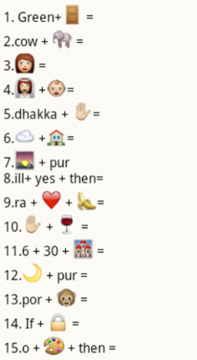 WhatsApp - Guess the city names from whatsapp emoticons puzzle