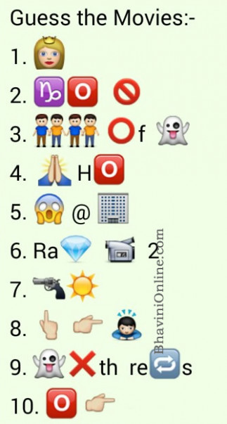 Whatsapp Puzzles: Guess These Latest Movie Names From ...