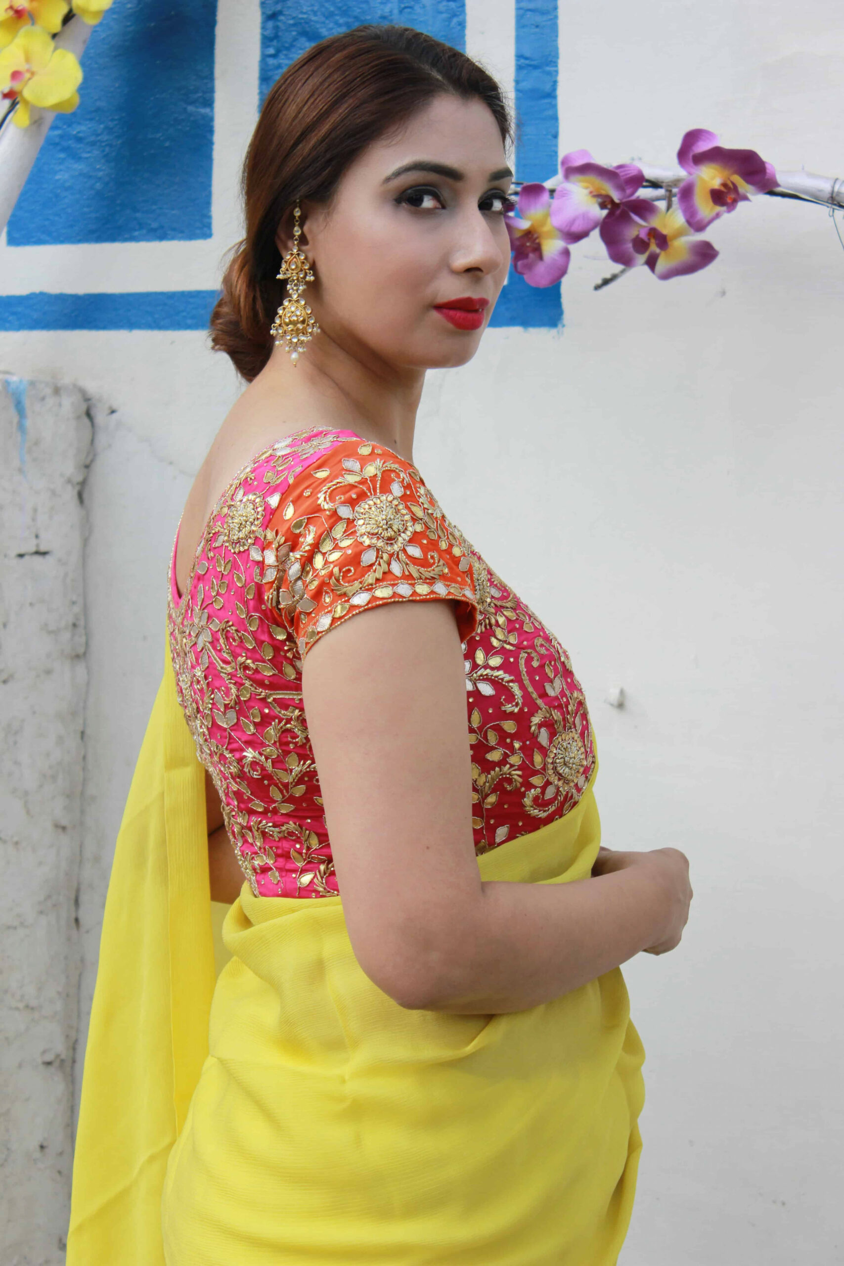 13 Best Contrast Blouse Ideas To Try With Yellow Saree