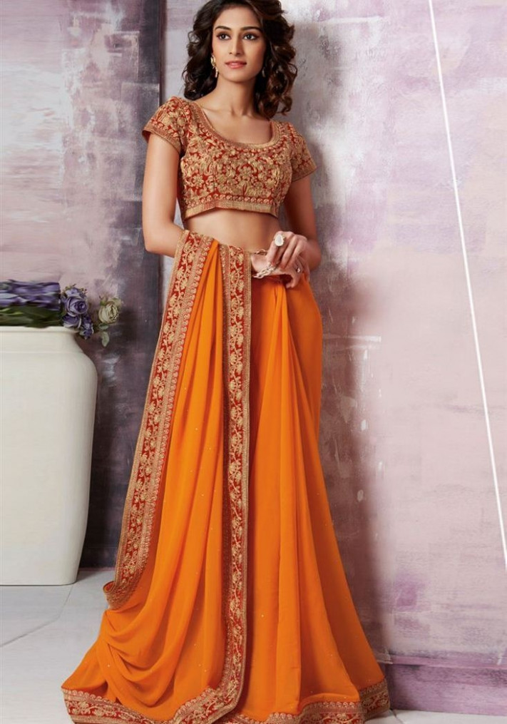 15 Latest and Best Orange Sarees with Images  Styles At Life