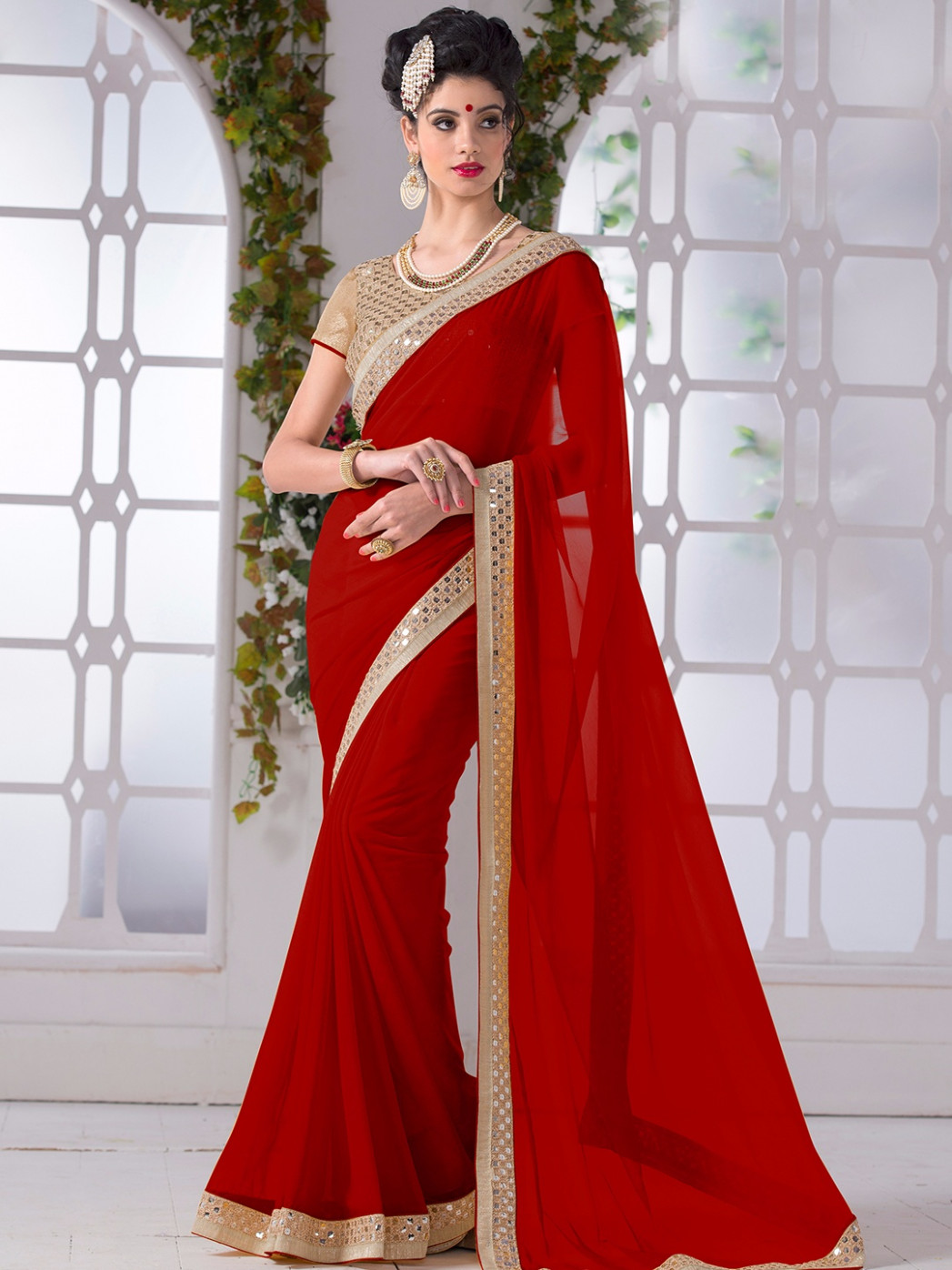 15 Red Color Beautiful Sarees for Wedding & Parties