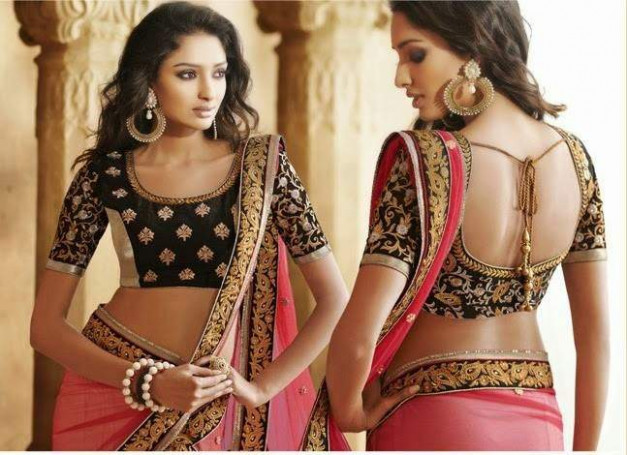15 types of saree blouses front and back neck designs