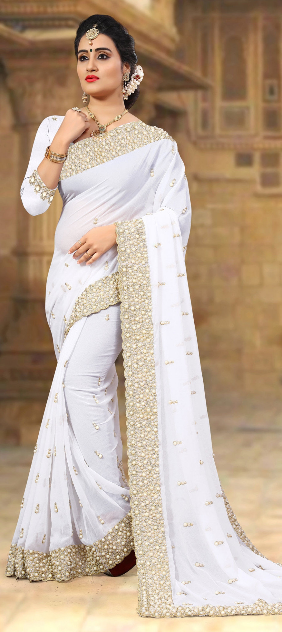 1528777: Wedding White and Off White color Georgette