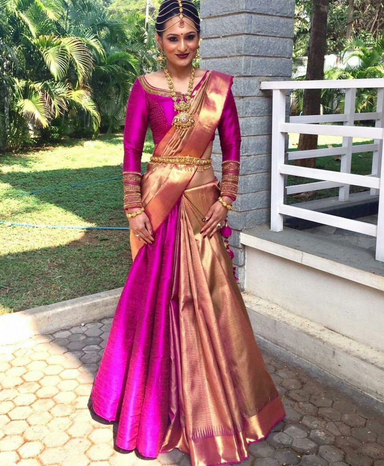 21 Beautiful Blouse Designs for Pink Color Silk Saree