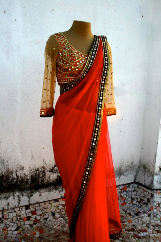 24 Pics of simple mirror work blouse & saree designs