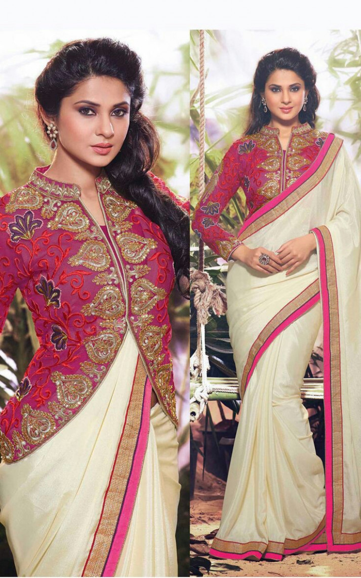 30 Latest High Neck Blouse Designs for Sarees  #