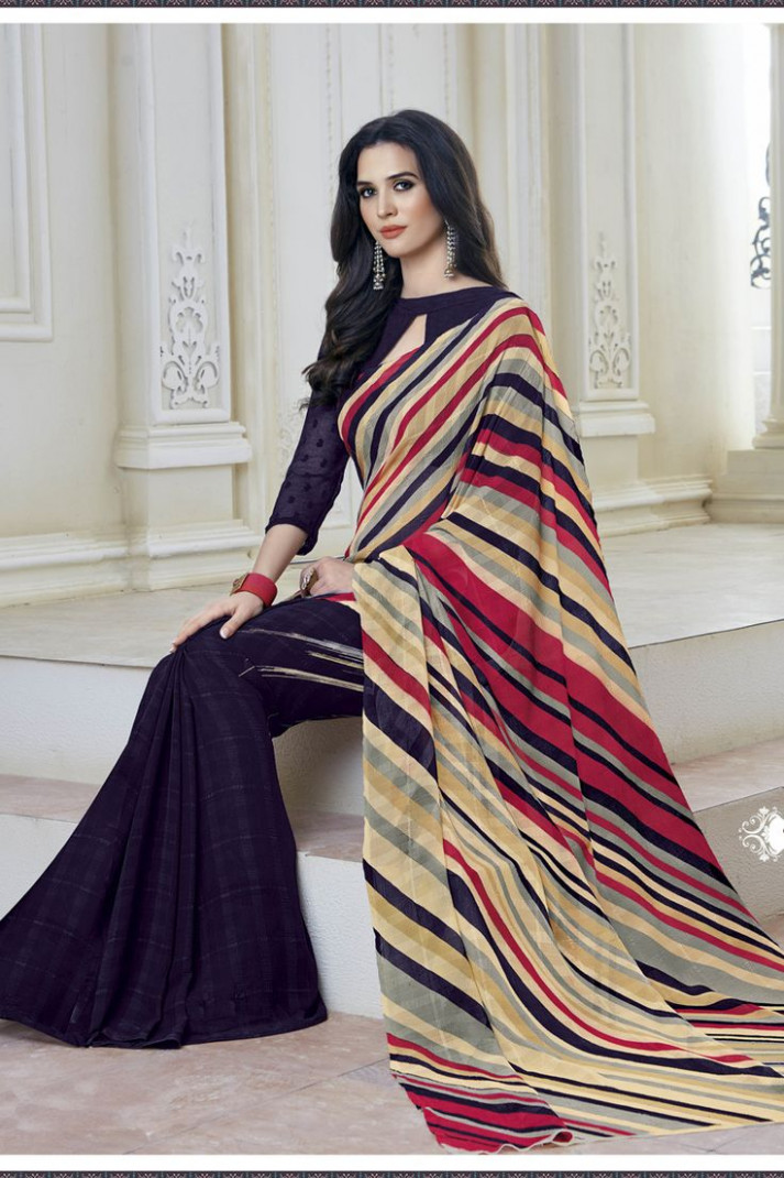 32 best Simple Printed Saree images on Pinterest  Casual