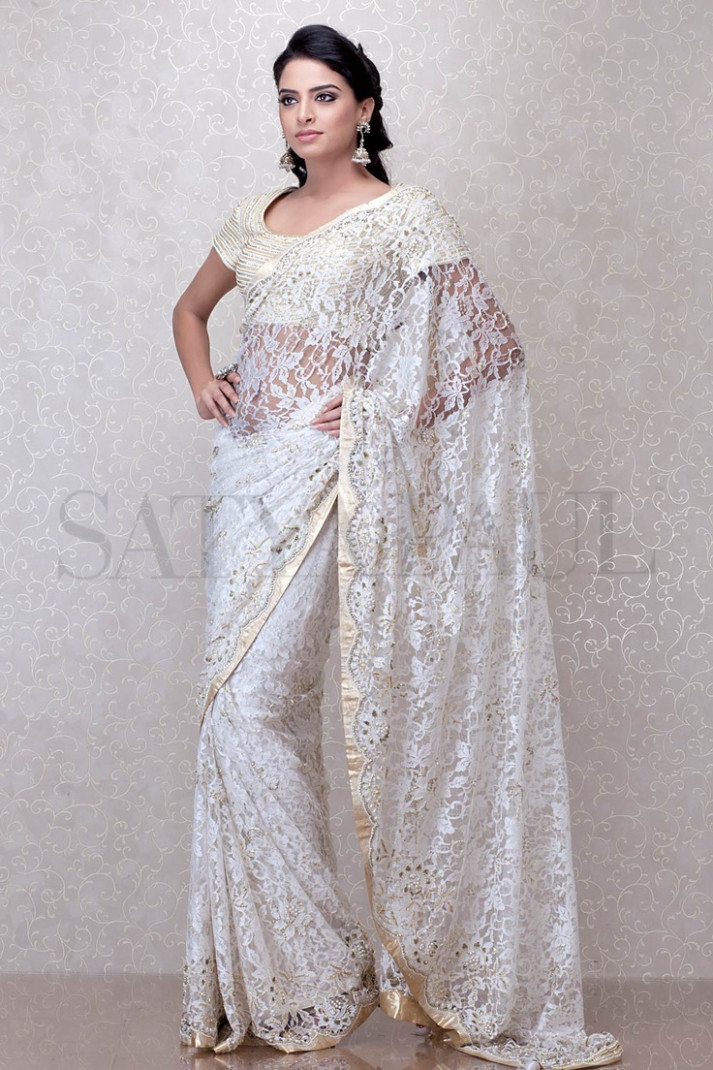 38 best images about white lace sarees on Pinterest